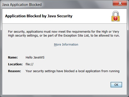 Application Blocked by Java Security Error