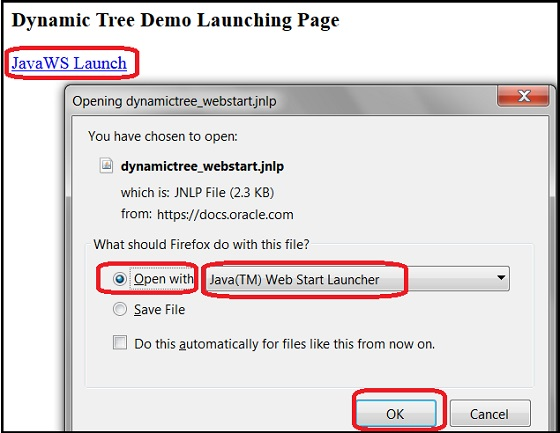 Select JavaWS for JNLP File in Firefox