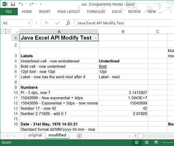 jxl.jar Text - Modify Excel Cell Data