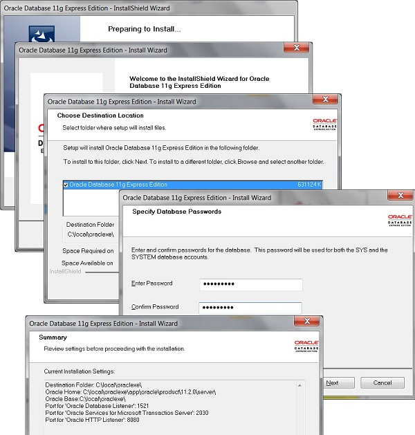 Oracle Database 11g XE Installation Screens
